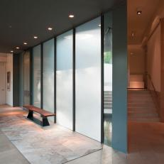 Modern Charcoal Gray Hall With Frosted Glass Panels