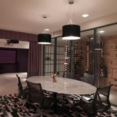 Modern Dining Room With Glass-Enclosed Wine Storage