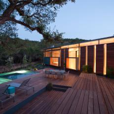 Modern Wood Deck With Rectangular Swimming Pool