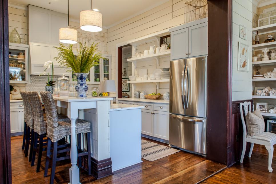 Neutral Country Kitchen With Wicker Barstools