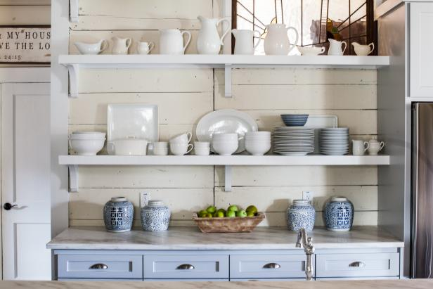 Country Kitchen Features Charming Open Shelving