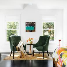 Master Bedroom with Green Chairs