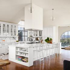 White Transitional Kitchen with Oversized Marble Island