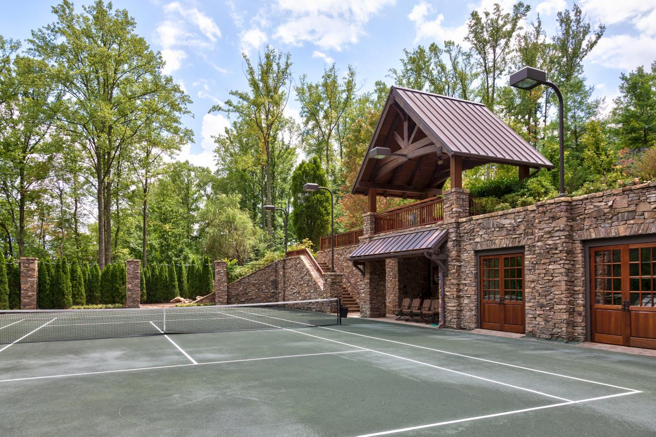 Tennis Court At Rustic Mountain Retreat