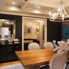 Black Transitional Dining Room With Chandelier