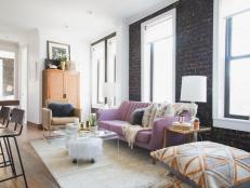 Gorgeous Lilac Sofa Wows in Urban Living Room