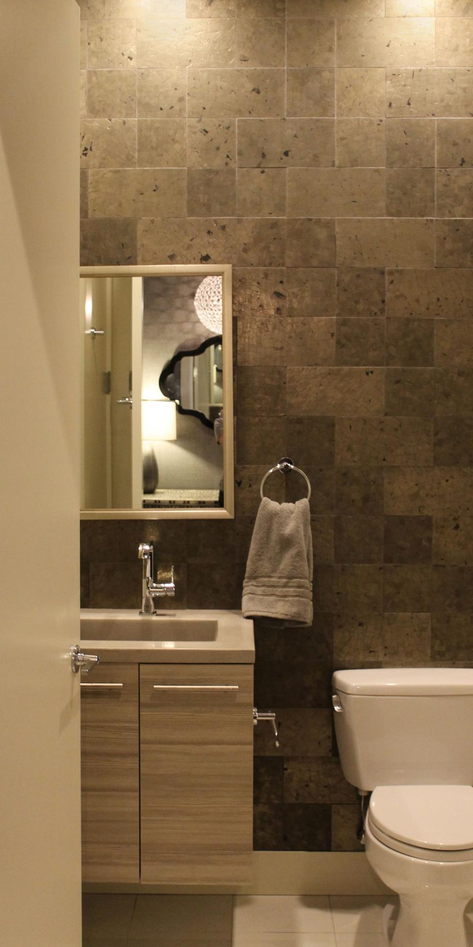 Modern Powder Room With Stone Tile Backsplash Floating Vanity And Modern Fixtures Hgtv