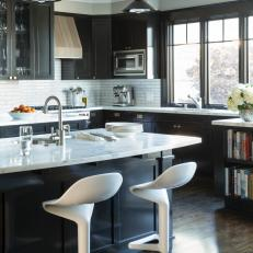 Black And White Transitional Kitchen With Modern Stools