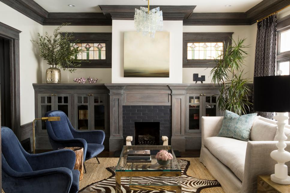 Neutral Transitional Living Room With Dark Crown Molding