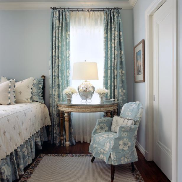 Bright Blue Traditional Bedroom