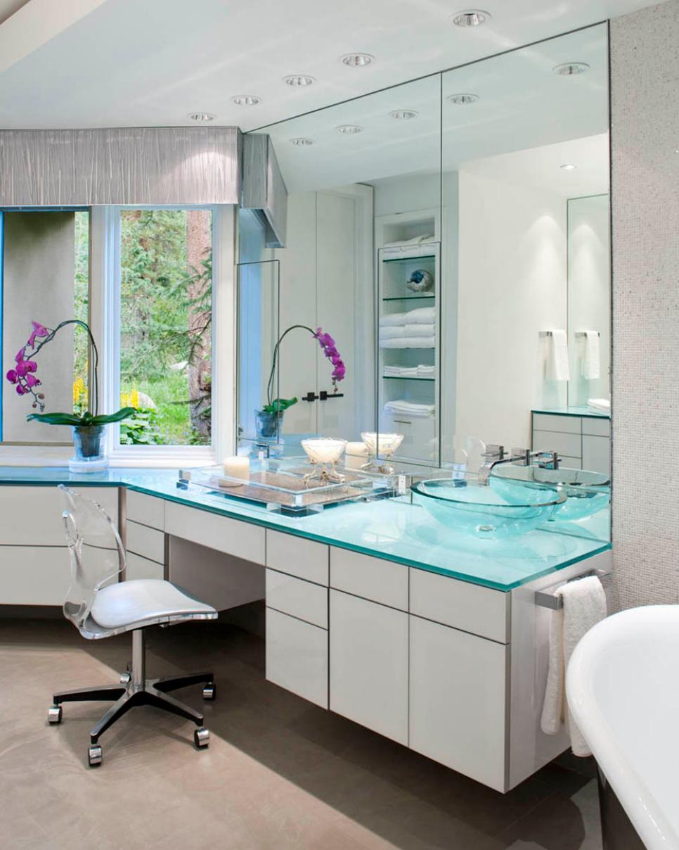 midcentury modern master bathroom  hgtv