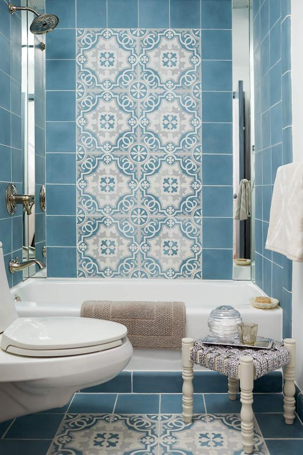 Blue Bathroom With Moroccan Flair
