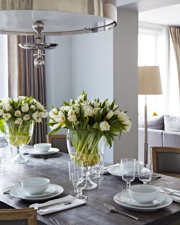 Fresh-Cut Flowers Liven Transitional Dining Room