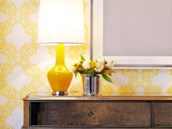 Sunny Yellow Foyer With Antique Finished Console