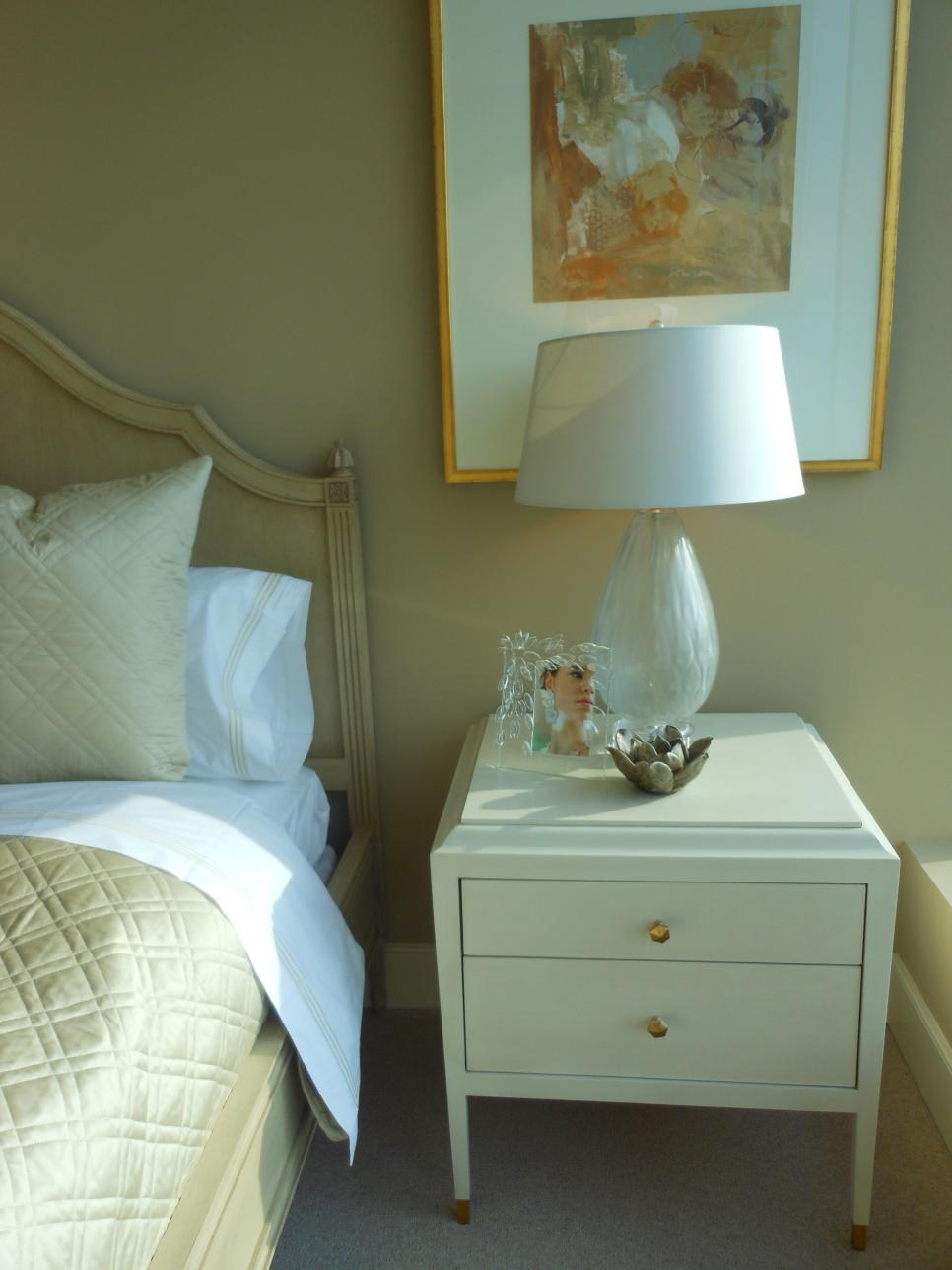 Transitional Taupe Bedroom With White Nightstand