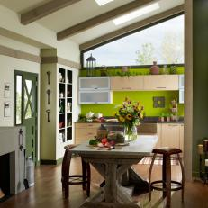 Kitchen With Bold Green Accent Wall