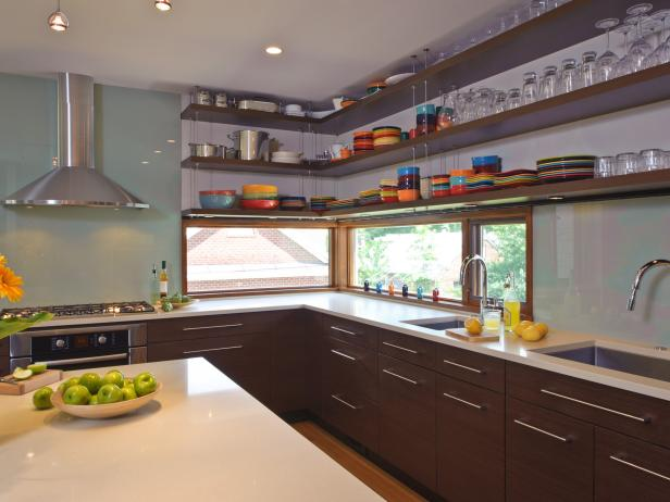 Open Shelving in Sleek, Contemporary Kitchen