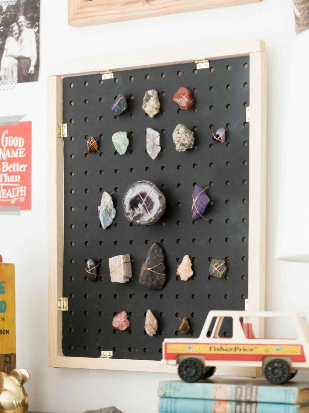 DIY Pegboard Rock Collection Display