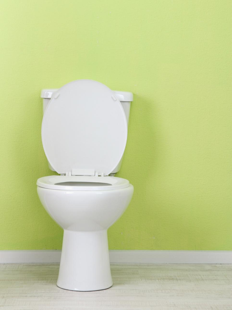 Toilet Against Green Wall