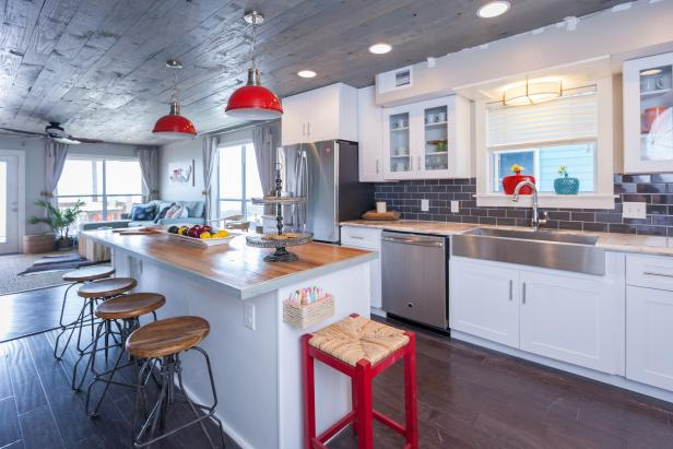 Gray and Red Beach House Kitchen
