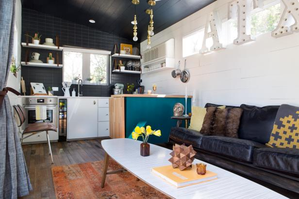Small Black & White Eclectic Living Area & Kitchen