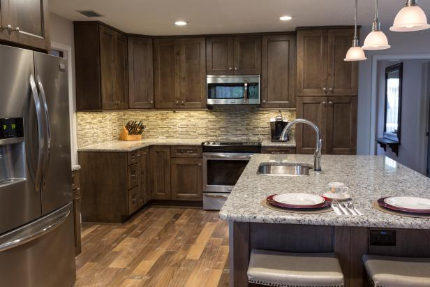 Contemporary Kitchen With Dark Wood Cabinetry And