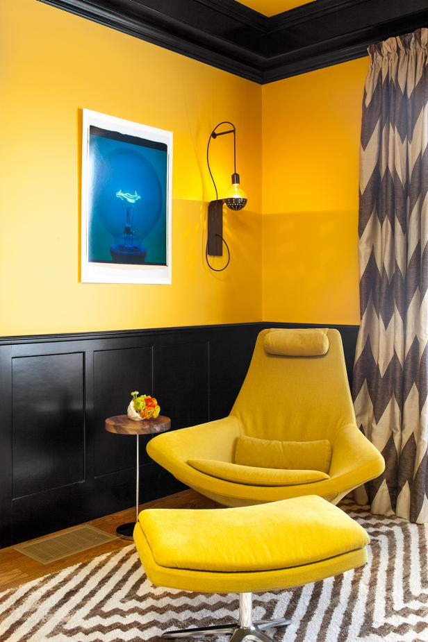 Yellow Living Space With Yellow Midcentury Modern Chair & Ottoman
