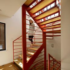 Floating House: Open Metal U0026 Wood Staircase