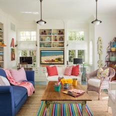 Colorful Living Room with White Walls