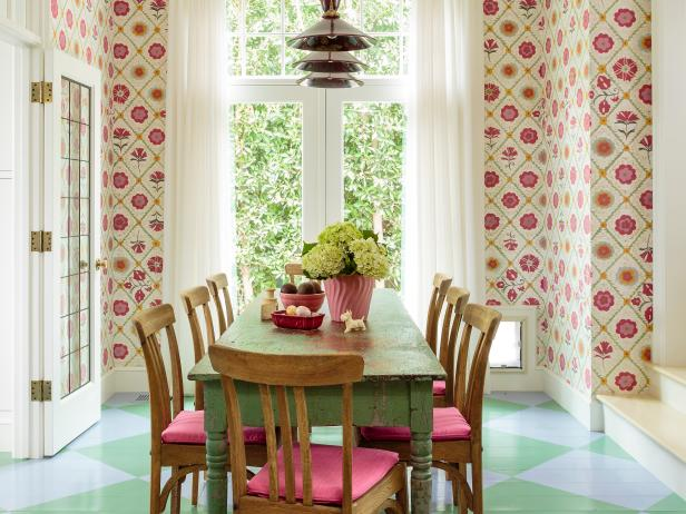 Floral Patterned Wallpaper and Blue and Green Argyle Floor in Dining Room