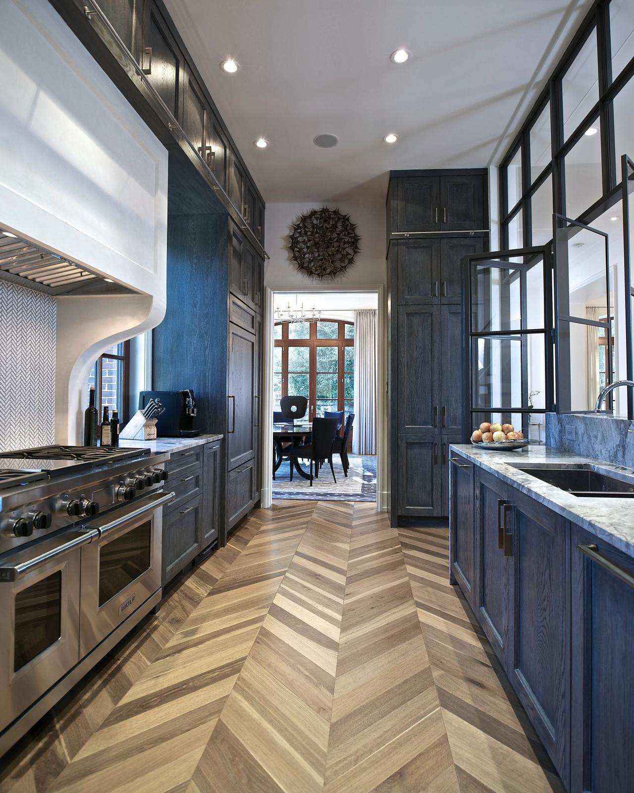 Galley Kitchen Flooring Ideas: Chevron Wood Floors Take Center Stage In Galley Kitchen