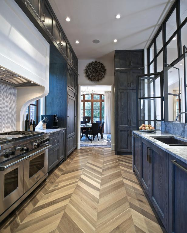 Chevron Wood Floors Take Center Stage in Galley Kitchen