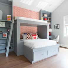 Gray and Red Modern Boys' Room with Custom Bunk Beds and Matching Floor to Ceiling Bookshelves