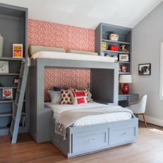 Gray and Red Boys' Room with Custom Modern Bunkbeds and Bookshelves