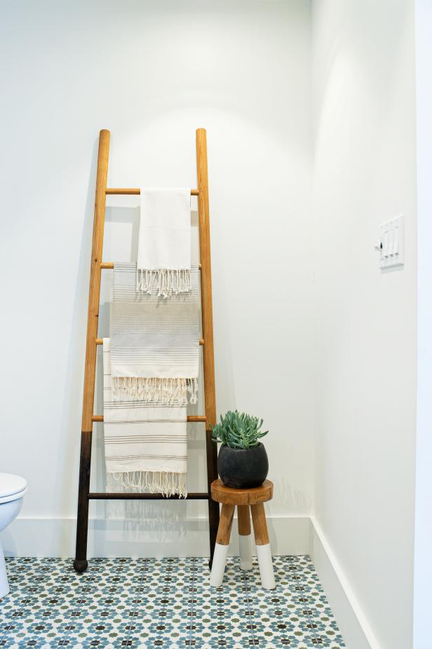 Stylish Bathroom Features Ladder Towel Storage