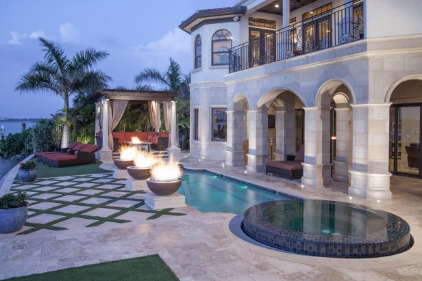 Mediterranean Patio With Fire Bowls, Pool, Spa & Arches