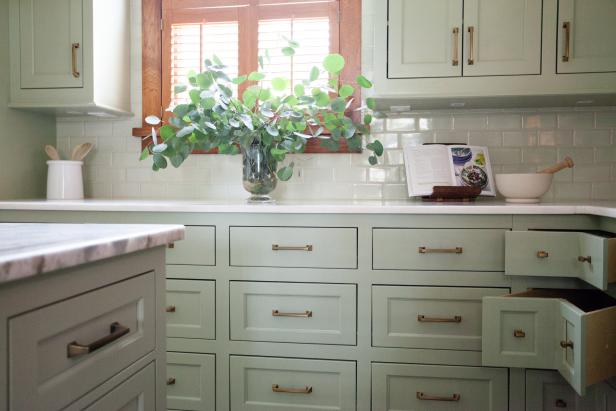 Corner Drawers in Green Cottage Kitchen