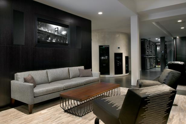 Black and Gray Modern Lounge With Flat-Screen TV