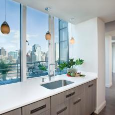 Contemporary Kitchen With a Magnificent Boston City View
