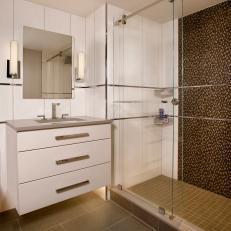 Boston Penhouse Master Bath With Contemporary Shower and Vanity