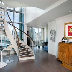 Contemporary Boston Penthouse With Winding Staircase and View