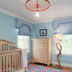 Playful Blue and Orange Nursery is Mod, Fun