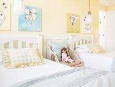 Girls' Pastel Yellow Room Features Country Charm