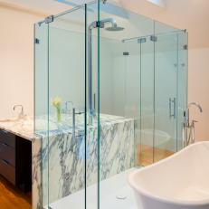 Contemporary Master Bathroom is Open, Bright
