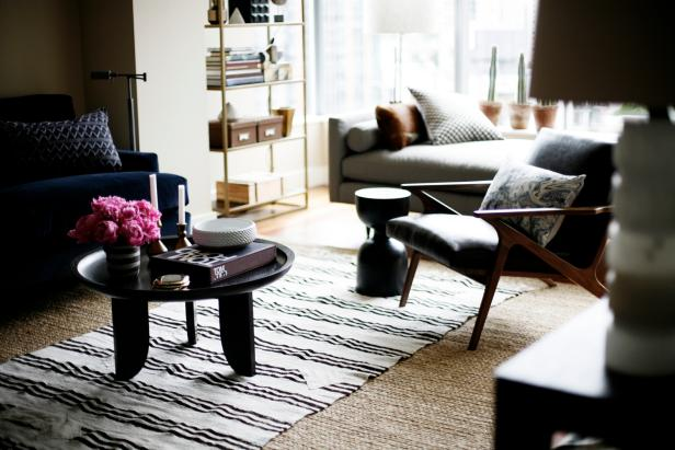 Contemporary Living Area With Black & White Stripe Rug, Dark Furniture