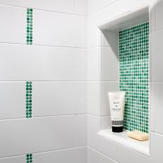 Attirant Shower Niche With Green Mosaic Tiles
