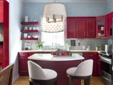 Red Transitional Kitchen With Small Island