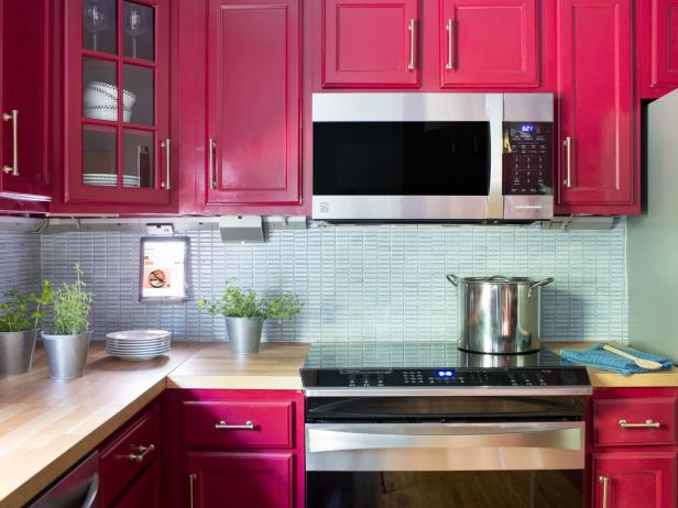 Stainless Steel Built-In Microwave in Red Transitional Kitchen