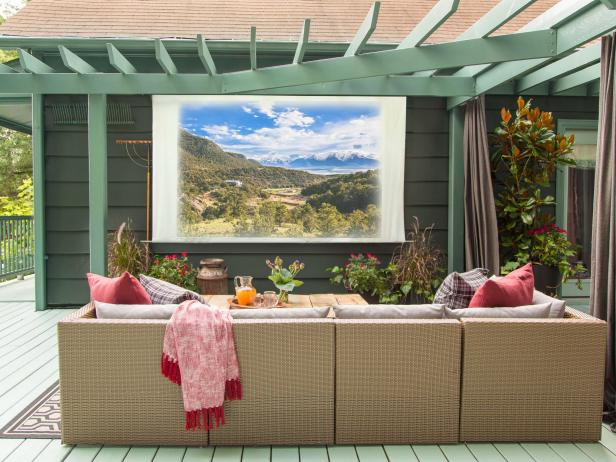 DIY Movie Screen in Front of Sectional Patio Seating
