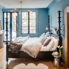 Transitional Blue Master Bedroom With Fireplace